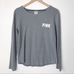 Victoria's Secret PINK Waffle Gray Long Sleeve Tee
